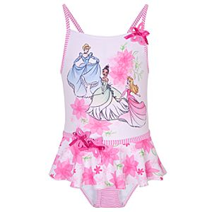 Glittering Floral Disney Princess Swimsuit for Girls