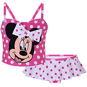 Pink and White Polka Dot Minnie Mouse Swimsuit for Toddler Girls -- 2-Pc.