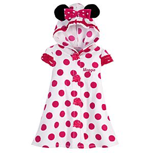 Personalizable Hooded Minnie Mouse Cover Up for Toddler Girls
