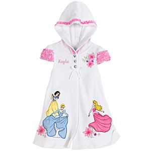 Personalizable Hooded Disney Princess Cover Up for Girls