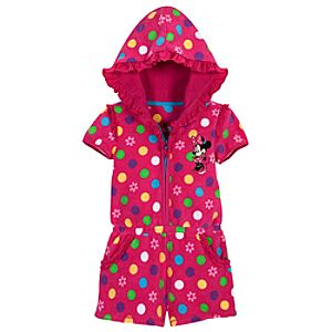 Personalizable Minnie Mouse Hooded Romper Cover-Up for Toddlers