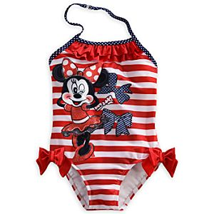 Minnie Mouse Striped One-Piece Swimsuit for Girls