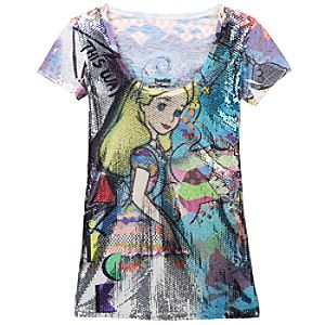 Sequinned Alice in Wonderland Tee for Women
