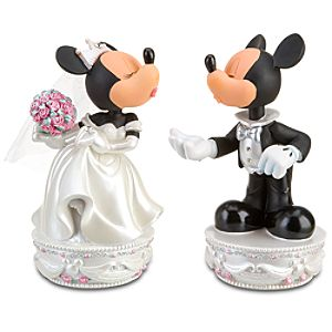 Wedding Minnie and Mickey Mouse Bobble Heads Set -- 2-Pc.