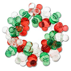 Sparkle Mickey Mouse Icon Bead Bracelet -- Red & Green