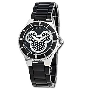 Pavé Crystal Mickey Mouse Watch in Black for Women