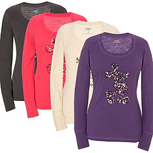 Long Sleeve Sequin Mickey Mouse Tee for Women