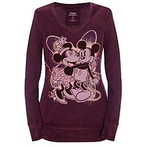 Long Sleeve Minnie and Mickey Mouse Thermal Tee -- Plum