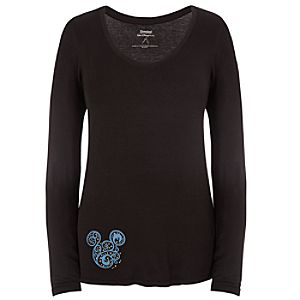 Long Sleeve Bohemian Rhinestone Mickey Mouse Tee