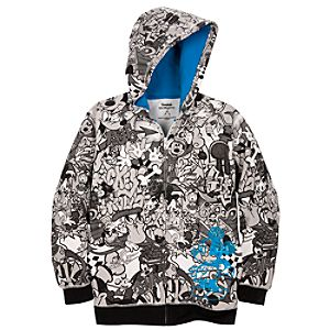 Hoodie Graffiti Mickey Mouse and Friends Sweatshirt Jacket