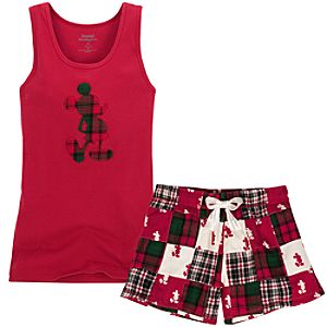 Plaid Mickey Mouse Tank and Boxers Set -- 2-Pc.