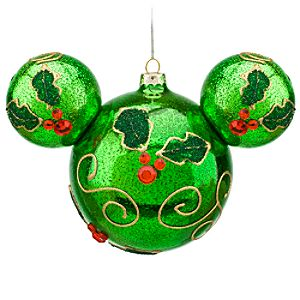 Holly Mickey Mouse Ornament