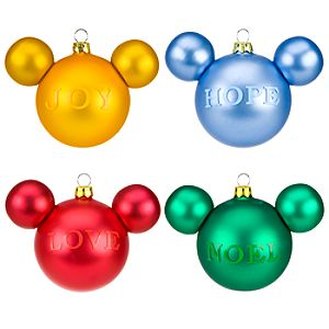 Joy Hope Love Noel Mickey Mouse Ornament Set -- 4-Pc.