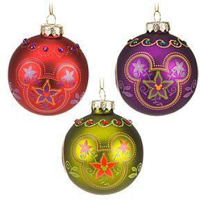 Bohemian Mickey Mouse Ornament Set -- 3-Pc.