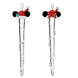 Santa Mickey and Minnie Mouse Icicle Ornament Set -- 4-Pc.