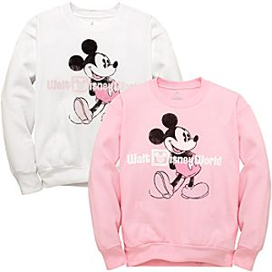 Mickey Mouse Walt Disney World Resort Sweatshirt -- Pink & White