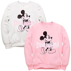 Mickey Mouse Disneyland Resort Sweatshirt -- Pink & White