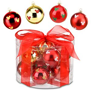 Shatterproof Red and Gold Mickey Mouse Ornaments -- 12-Pc.