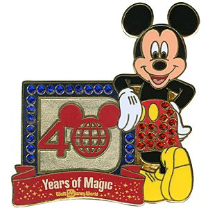 Jeweled 40th Anniversary Walt Disney World Logo Mickey Mouse Pin