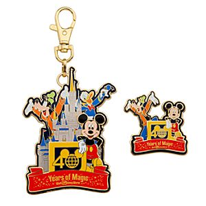 40th Anniversary Walt Disney World Lanyard Medal and Pin Set -- 2-Pc.
