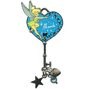 Limited Edition Tinker Bell Birthstone Key Pin -- March