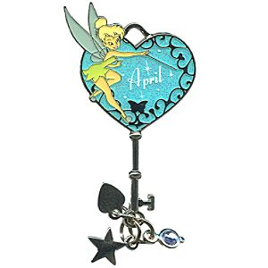 Limited Edition Tinker Bell Birthstone Key Pin -- April