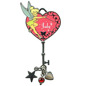 Limited Edition Tinker Bell Birthstone Key Pin -- July