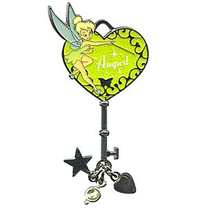 Limited Edition Tinker Bell Birthstone Key Pin -- August