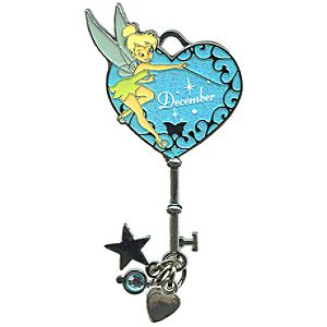 Limited Edition Tinker Bell Birthstone Key Pin -- December