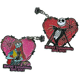 2011 Valentines Day Sally and Jack Skellington Pin Set -- 2-Pc.