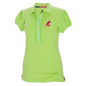 Green Pique Mickey Mouse Polo Shirt for Women