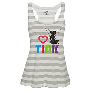 Striped I Heart Tinker Bell Tank for Women