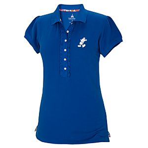 Blue Pique Mickey Mouse Polo Shirt for Women