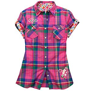 Plaid Woven Cotton Mickey Mouse Shirt for Women