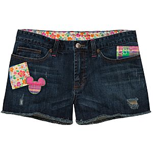 Denim Patch Mickey Mouse Shorts for Women