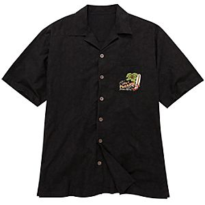 Black Woven Mickey Mouse Shirt for Men