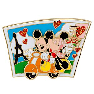 Mickey Mouse and Minnie Scooter Pin
