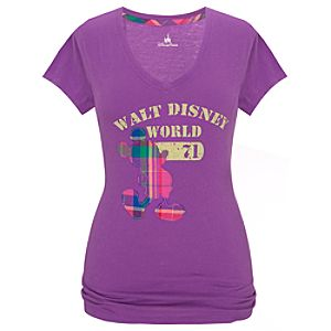 Purple Walt Disney World Plaid Mickey Mouse Tee for Women