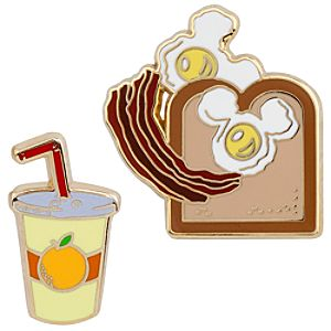 Eggs and OJ Breakfast Mickey Mouse Pin Set -- 2-Pc.