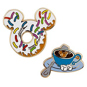 Donut and Tea Breakfast Mickey Mouse Pin Set -- 2-Pc.