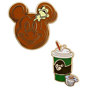 Pancakes and Coffee Breakfast Mickey Mouse Pin Set -- 2-Pc.