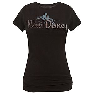 Black Beaded Walt Disney World Mickey Mouse Tee for Women