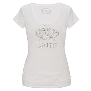 Bride Rhinestone Mickey Mouse Tee for Women