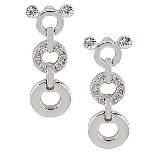 Swarovski Crystal Dangle Circles Mickey Mouse Earrings by Arribas