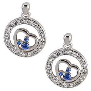 Heart with Blue Swarovski Crystal Mickey Mouse Earrings by Arribas