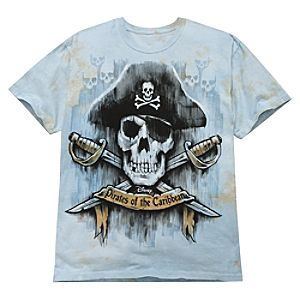 Tie Dye Skull Pirates of the Caribbean Tee for Adults