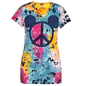 Tie-Dyed Peace Sign Mickey Mouse Tee for Women
