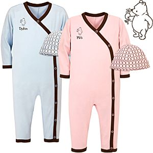 Personalized Winnie the Pooh Jumpsuit & Cap for Infants