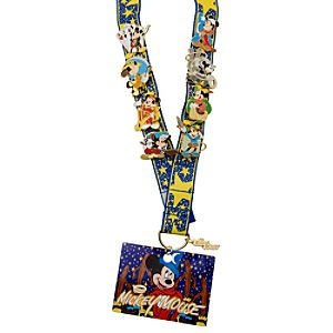 Deluxe Mickey Mouse Pin Trading Starter Set - 8 Pins and Lanyard