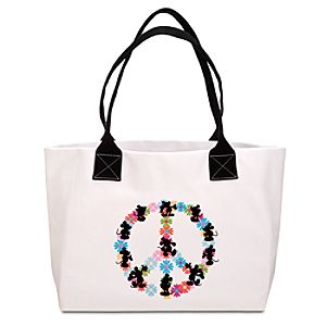 Flower Peace Sign Mickey Mouse Tote